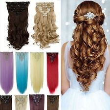 Full Head clip in hair extensions long new curly straight 8 piece As human ddg42