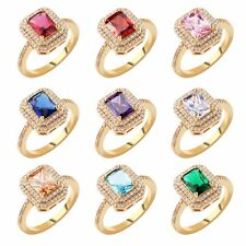 Sz7-Sz10! Wedding Bling Radiant Multicolor Sapphire Cluster Setting hold ring