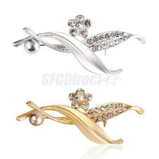 Women Faux Pearl Flower Leaves Crystal Rhinestone Brooch Pin Jewelry Wedding