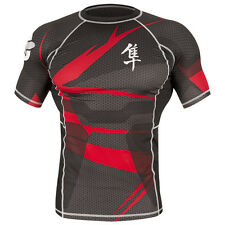 Hayabusa Metaru 47 Silver Short Sleeve Rashguard - Black/Red-mma grappling bjj