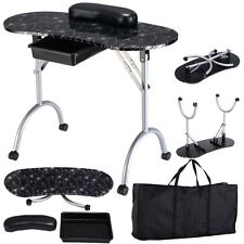 White Black Manicure Nail Table Station Desk Spa Beauty Salon Portable Equipment