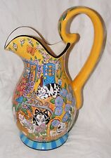 LARGE CATZILLA CANDACE REITER HAND PAINTED CAT JUG PITCHER 14.5 INCHES HIGH