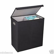 Double Hamper Laundry Sorter with Magnetic Lid Closure, Folds Up Easy Storage