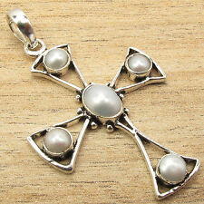 925 Silver Plated CROSS Pendant ! Natural WHITE PEARL & Other Gemstone Variation