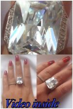 LUXE8J*Radiant Cut Fine Jewelry Fine Rings 6.8CT Ring Diamond Silver Italy