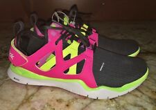 NEW Youth Girls 7 REEBOK Zcut TR Dark Grey Solar Pink Yellow Running Shoes