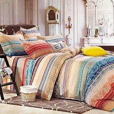 Colourful Rainbow Striped Doona Quilt Duvet Cover Set Single Double Queen King