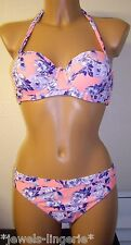 NEW LOOK BANDEAU BIKINI TOP/BRIEF SIZE 34B/12 FLORAL PADDED UNDERWIRED HALTER