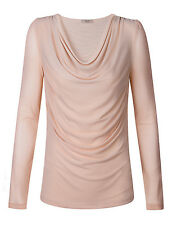 Autumn Women's Long Sleeve Scoop Neck Pleated Front Fitted Fashion Blouse Top