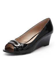 New Supersoft by Diana Ferrari Padma Black Patent Women Shoes Heels Peep Toes