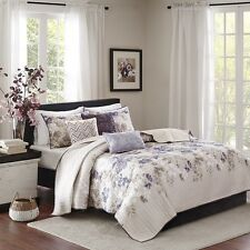 6 Piece Quilted Coverlet Set Floral Print Taupe w/ Decorative Pillows and Shams