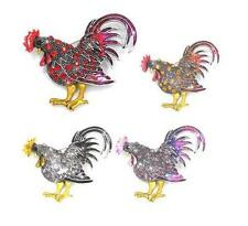 New Stunning Rooster Chicken Crystal Pendant Charm Brooch Pin 4 Colors