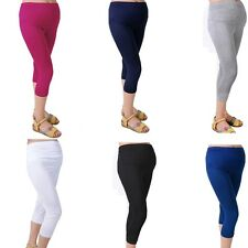 Leggings Pregnant Women Comfortable Solid Maternity Capris Cotton Elastic 7 Pant