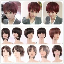 Multiple Short Hair Full Wigs Real Natural Curly Wave Straight Synthetic Wig USA