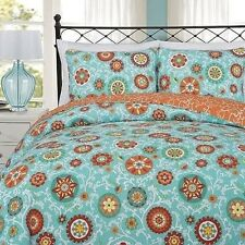 NEW Twin Full Queen King Bed Size Quilt 3pc Set Aqua Blue Yellow Floral Coverlet