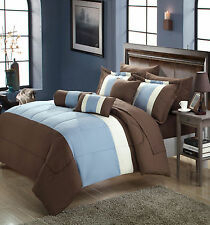 Serenity Blue & Brown 10 Piece Comforter Bed In A Bag Set