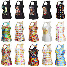 Rock Band Vest Tank Top Women Printed Singlet T-shirt Stretch Camisole Racerback