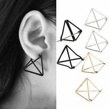 Simple Women Geometric Figure Stereoscopic Hollow Out Triangle Ear Stud Earrings
