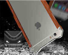 Luxury Wood Frame CNC Aluminum Hard Bumper Metal Case Cover for iPhone 6S 6 Plus