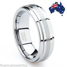 MENS WEDDING BAND / RING - GENUINE TUNGSTEN CARBIDE! Aussie Seller - Local Stock