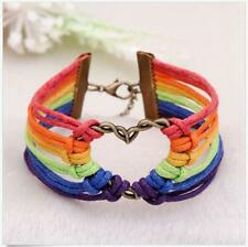 Lesbian Pride Gay Charm Love LGBT Flag Valentine's Gifts Braid Rainbow Bracelet