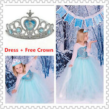 New— Frozen Princess Dress Anna Elsa Queen Girls Cosplay Costume Party Dresses