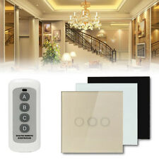 1 Way 1/2/3 Gang Crystal Glass Panel Touch Light Wall Switch Remote Controller