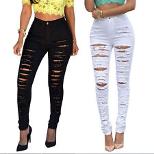 Women Sexy High Waisted Skinny Ripped Denim Pants Slim Pencil Jeans Trousers  FT