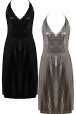 WOMENS BACKLESS METALLIC SKATER DRESS CELEB PARTY STYLE