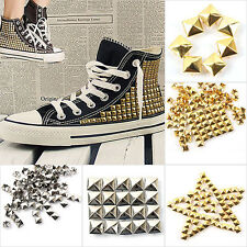 100x Silver Gold Tone Square Pyramid Rivet Metal Studs Spots Spikes Leathercraft
