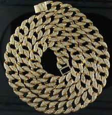 """Hip Hop Bling 30"""" Simulated Diamond 15mm Cuban Link Chain Necklace Men's Jewelry"""