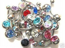 Lot of 10 x Crystal Double Gem Belly Bars Navel Piercing Ring 10mm Wholesale (D1