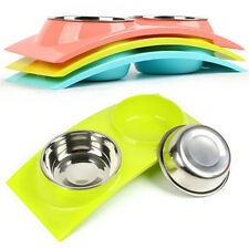 Stainless Steel Double Bowls for Pet Dog Cat Food Water Feeding Dish Non Slip