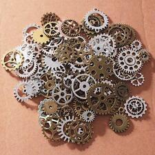 100x Antiqued Bronze Alloy Mixed Clock Steampunk Gear Pendant Charms 15/30mm t25