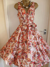 NEW SIZE 10 VINTAGE SWING 1950s PARTY ROCKABILLY FLORAL DRESS BUNNY AT 567545774