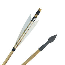 "32"" White MEDIEVAL Wooden Arrows Hunting Arrow Heads For Archery Bow Practice"