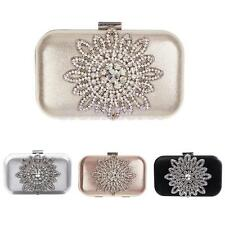 Evening Prom Night Party Bridal Purse Ladies Clutch Beautiful Rhinestone Flower