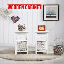 New Shabby Chic White Bedside Home Bedroom Tables Drawers with Wicker Storage