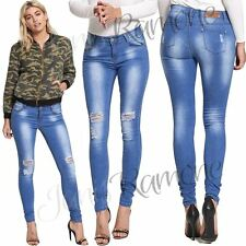 New Womens Ripped Knee Faded Skinny Denim Jeans Mid Rise Slim Fit Stretchy Pants