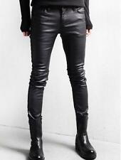 Mens Black Trousers PU Leather Skinny Fit Punk Rock Korean Cool Fashion Pants