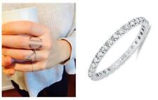 Delicate .925 Silver 2 mm Round Cut CZ Stackable Eternity Band Ring Size 4-12