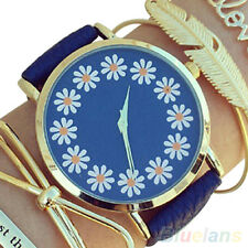 Women's Girl's Faux Leather Chrysanthemum Round Analog Quartz Wrist Watch DMX