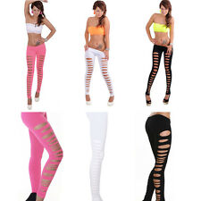 Women Leggings Candy Color Skinny Ripped Hole Cut Out Leggings Tight-Pants PY