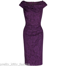PRETTY KITTY 40s PURPLE LACE WIGGLE BODYCON PENCIL VINTAGE COCKTAIL DRESS