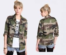 Vintage Women's French F2 camo jacket coat surplus army military camouflage
