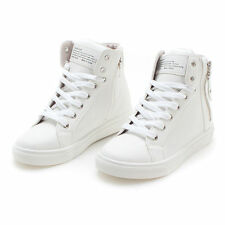 Womens Faux Leather High Top Sneakers Shoes Ankle White Boots Made in Korea
