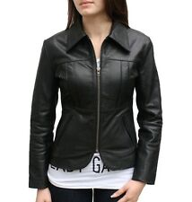 New Women Classic Vintage Style Leather Jacket Slim Fit Black Biker Coat W- 0038