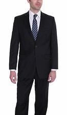 Ralph Lauren Total Comfort Solid Black Two Button Wool Suit With Pleated Pants