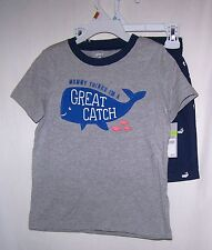 NWTS CARTER'S WHALE TEE/SHORTS 100% COTTON, BLUE EVERYDAY WEAR  4T