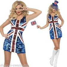 Ladies Sexy Sequinned Union Jack Ginger Spice Girls Fancy Dress Costume Outfit